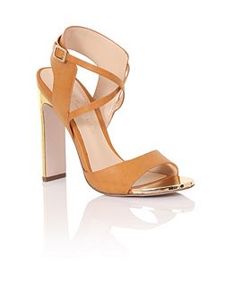 Double strap gold heels