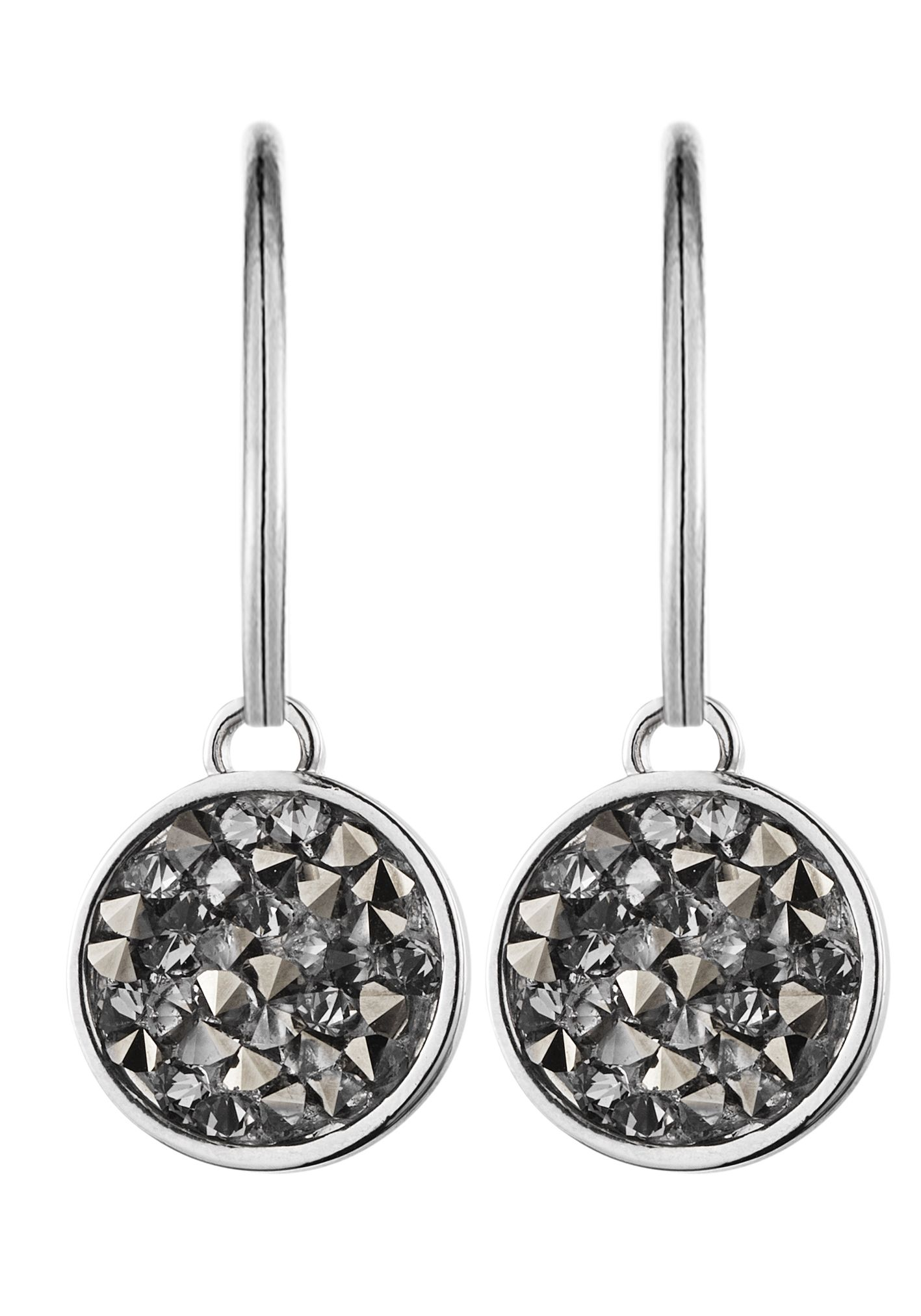 Janessa Shiny Silver Grey Earrings
