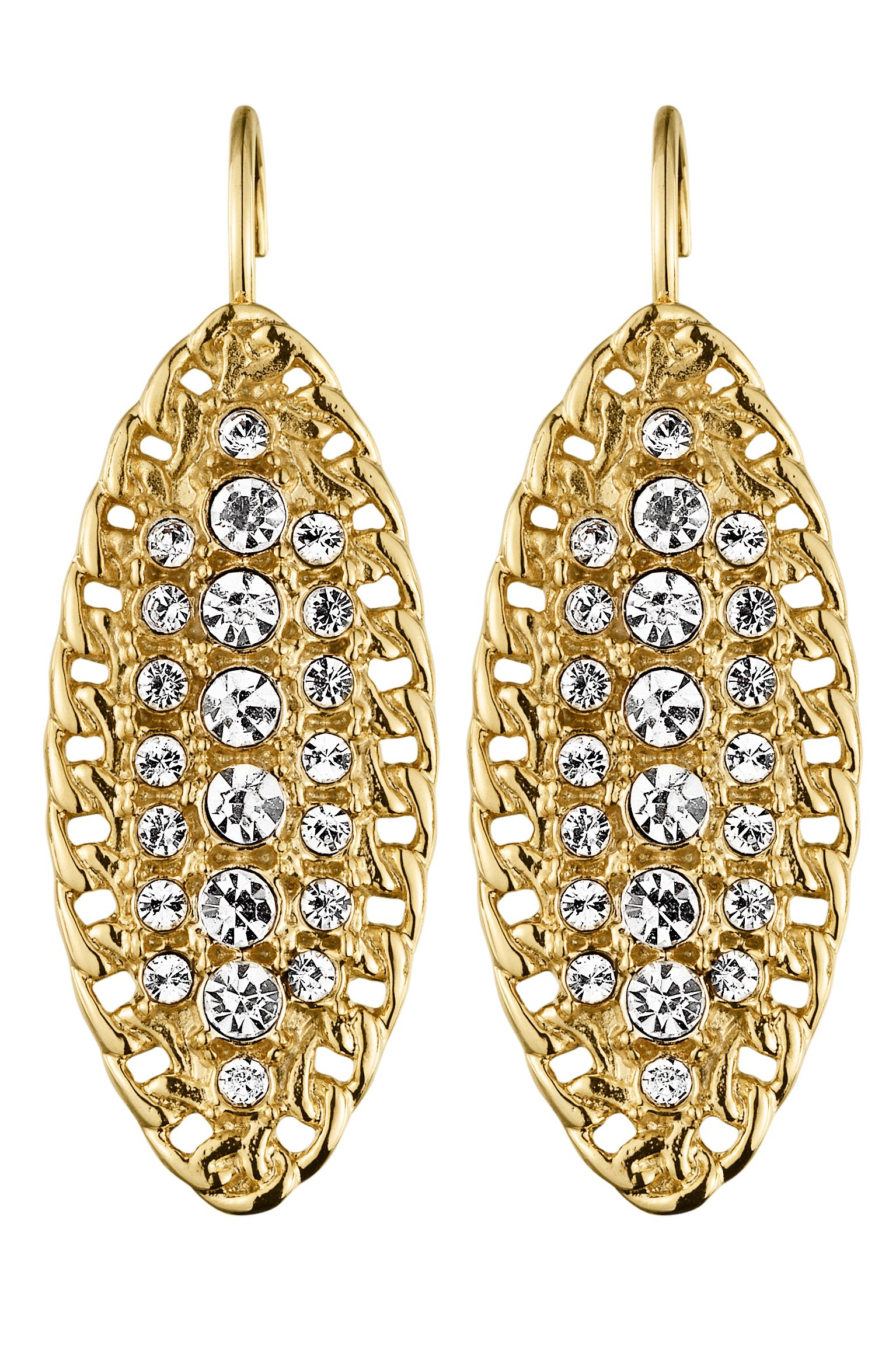 Ege Shiny Gold Crystal Earrings