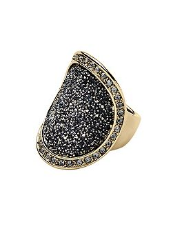 Carly shiny gold grey ring