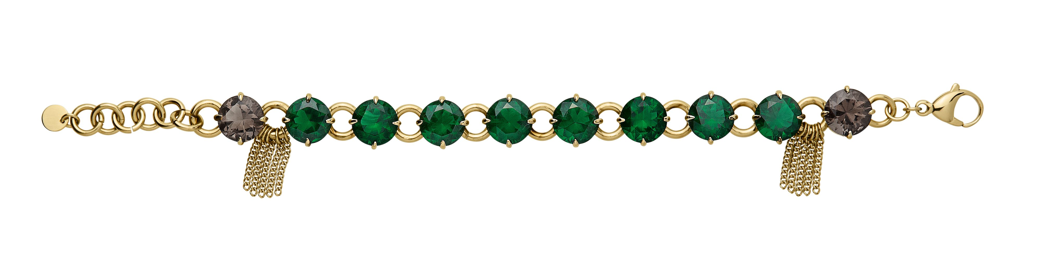 Cicera shiny gold green bracelet