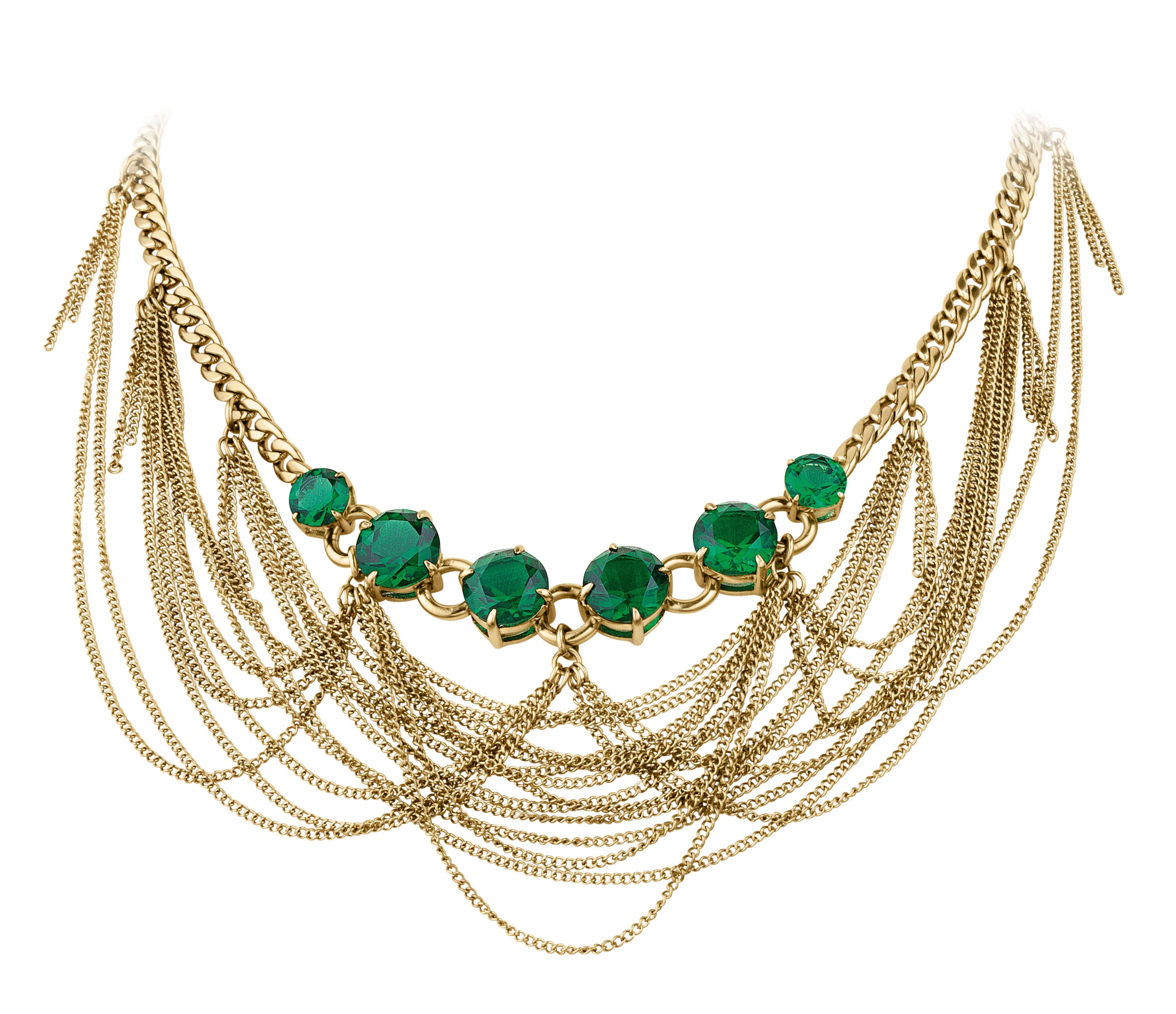 Kelin shiny gold green necklace
