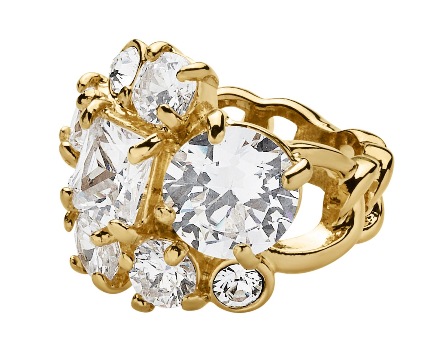 Tairie shiny gold crystal ring