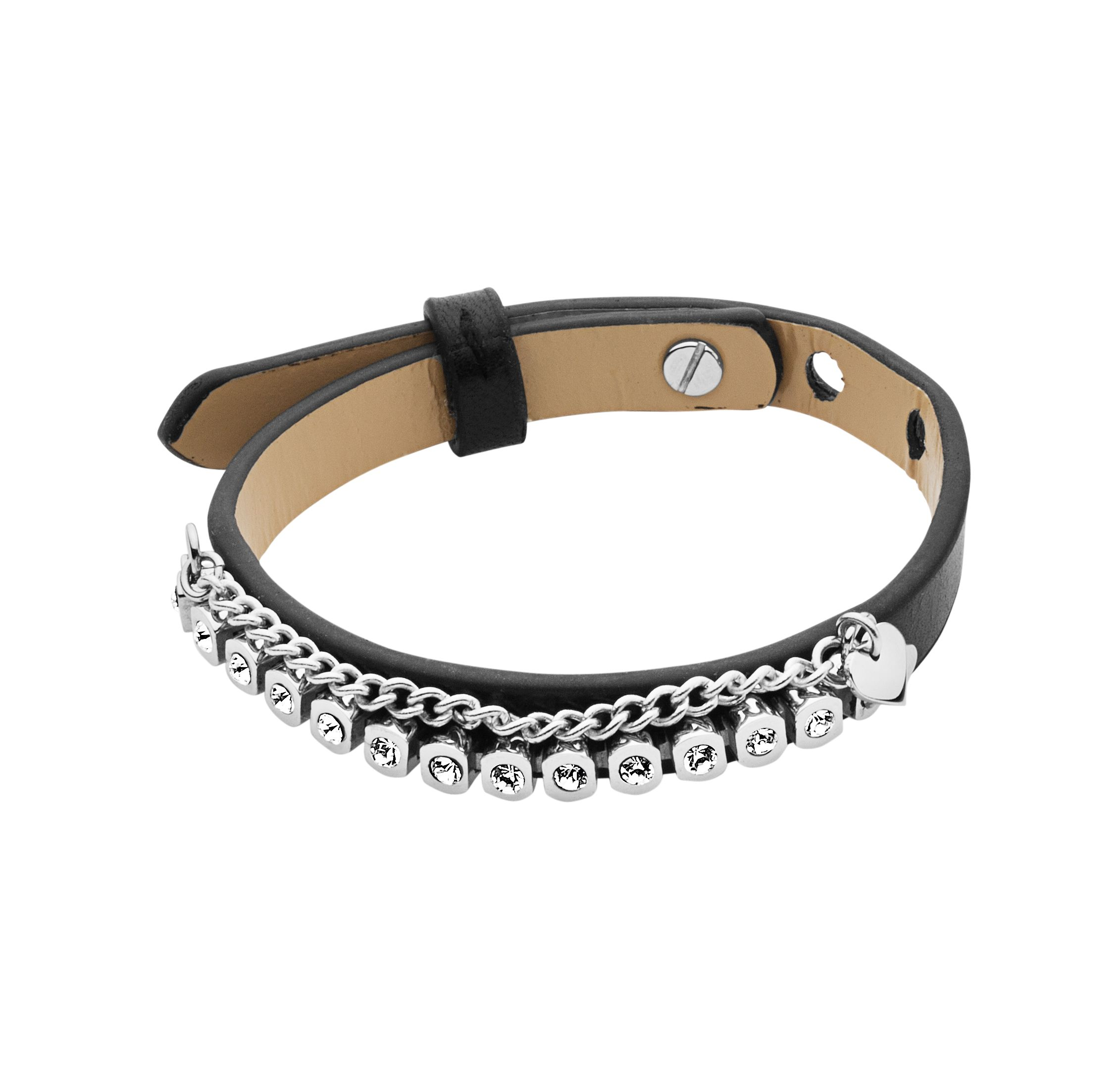 Titania black leather bracelet