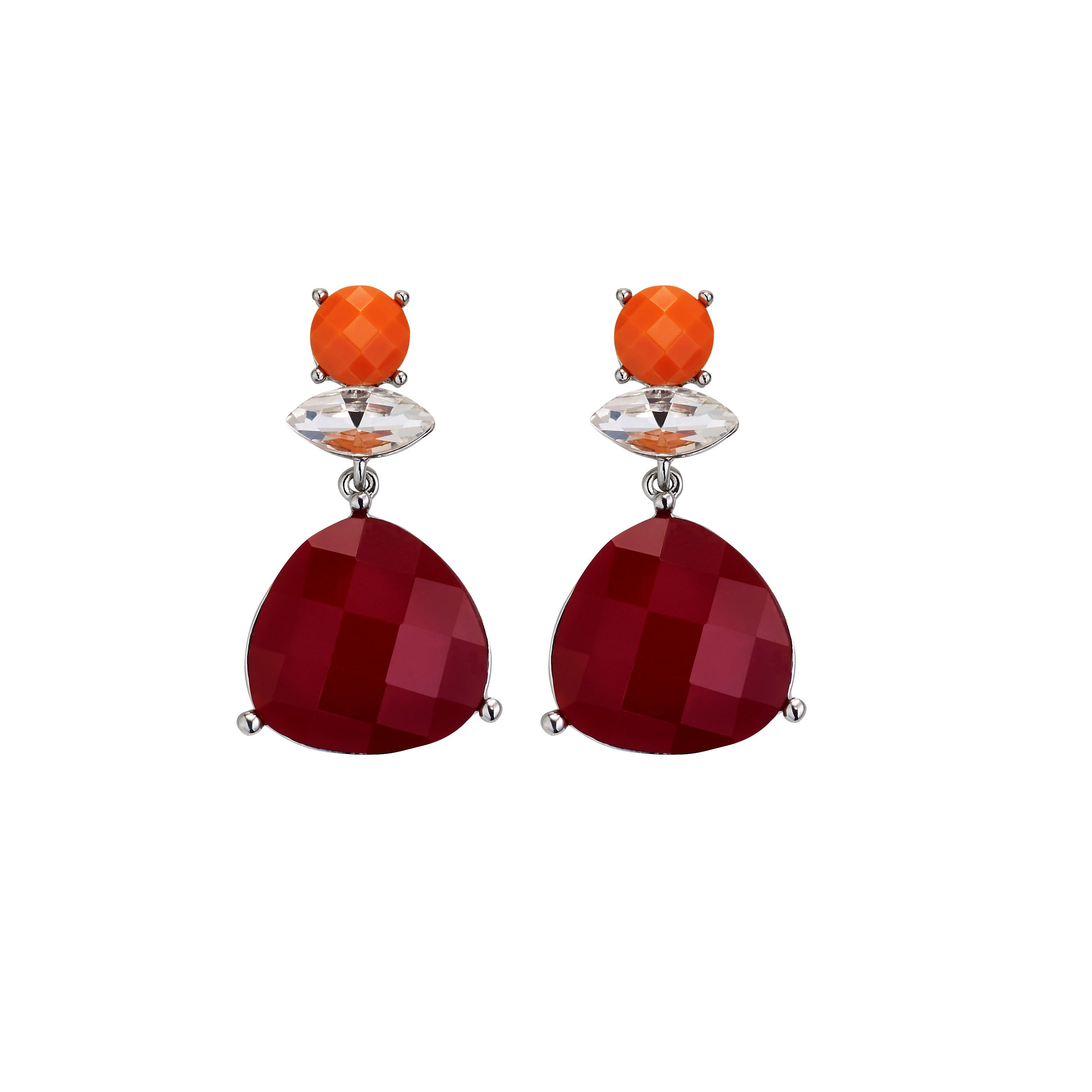 Tivanna coral crystal silver plated earrings