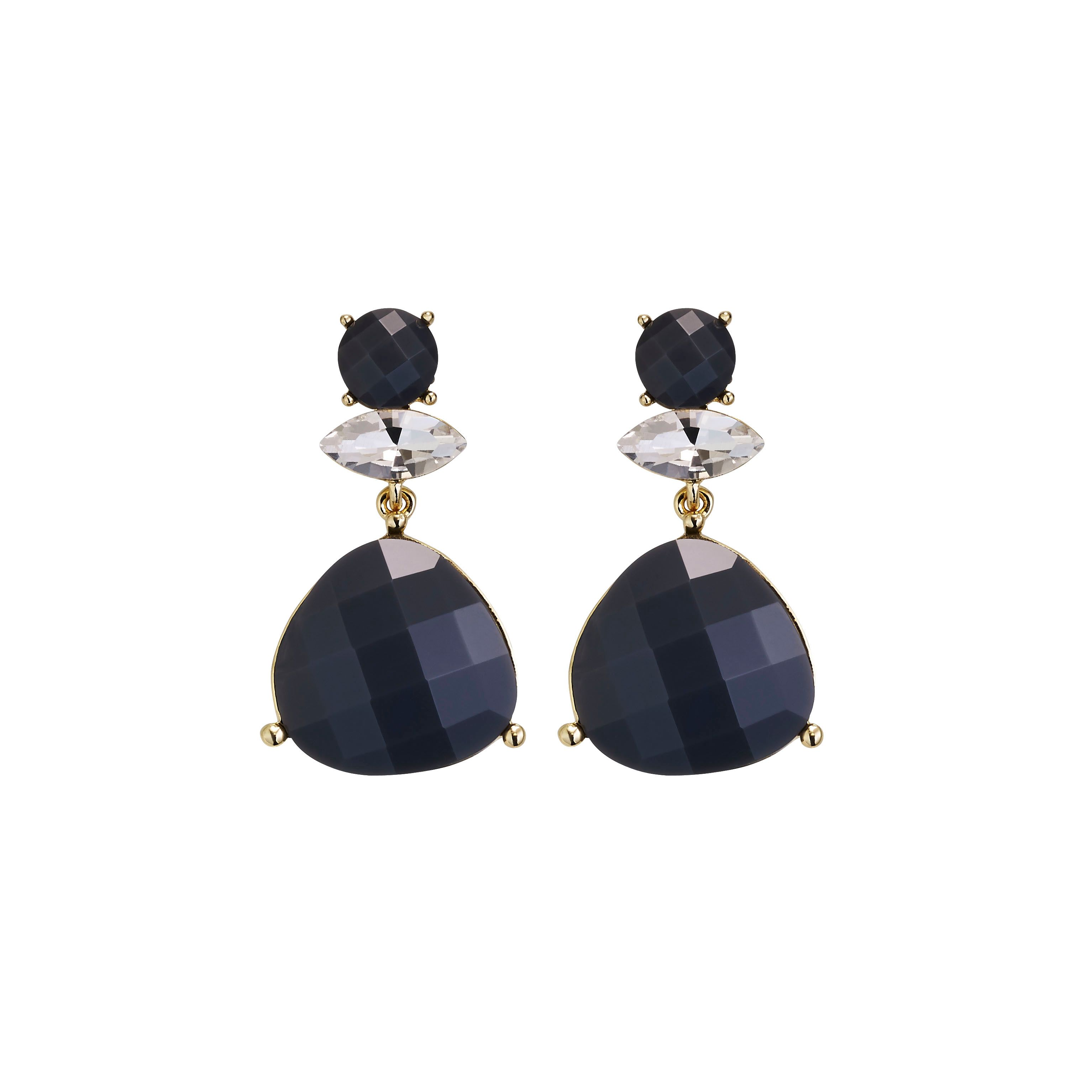 Tivanna grey crystal gold plated earrings