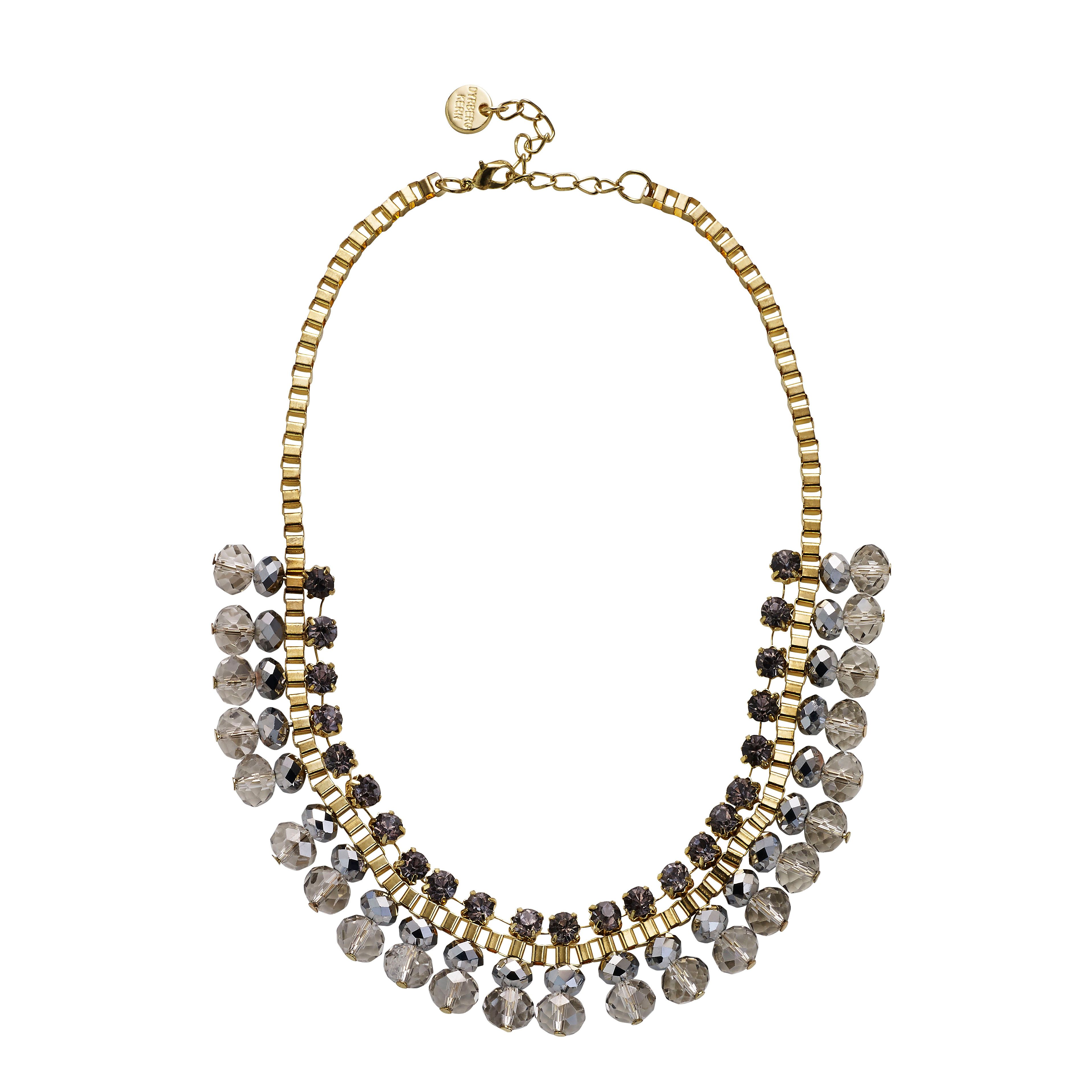Wiktoria grey crystal beads gold plated necklace