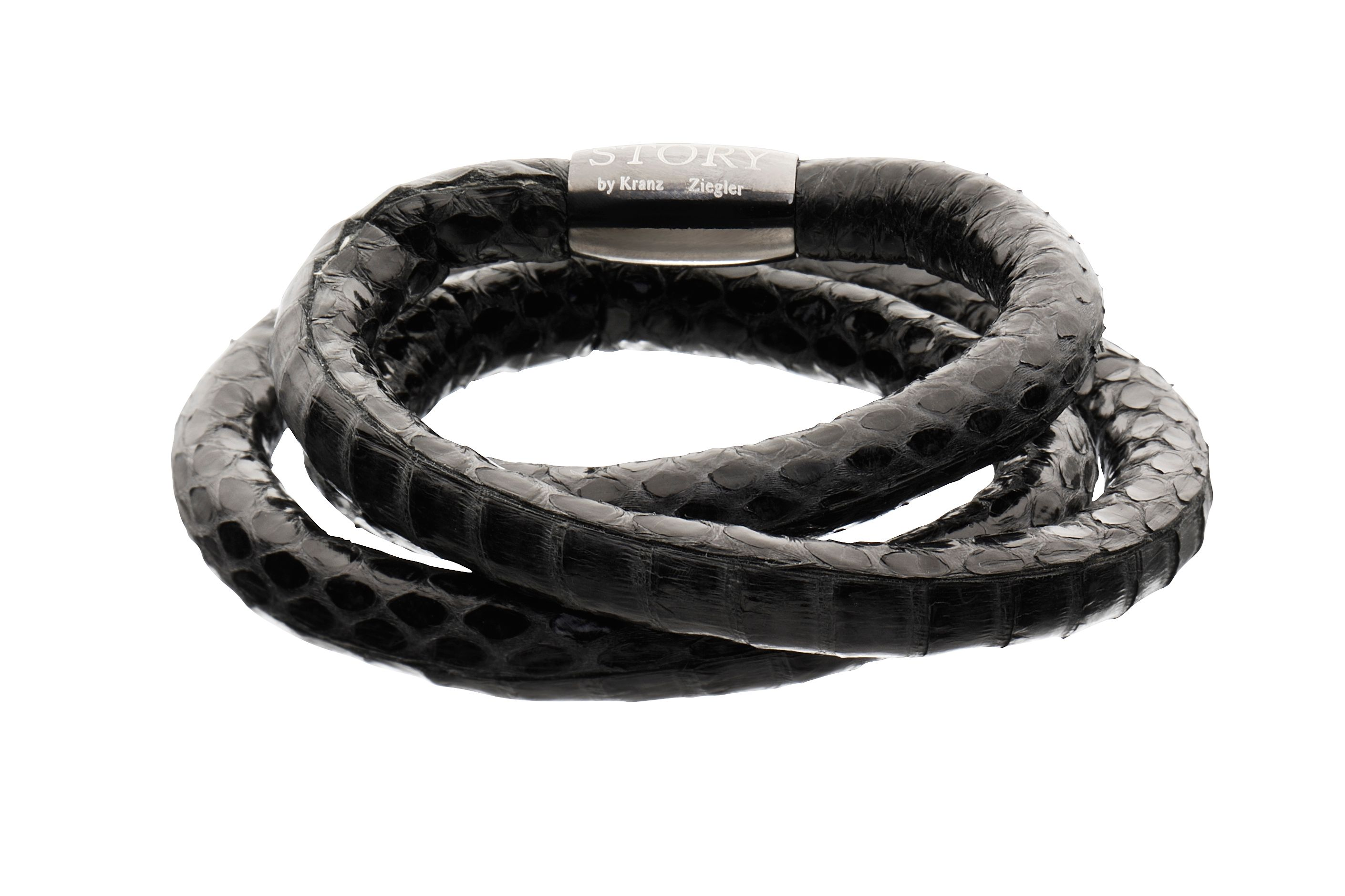 Triple wrap snakeskin black