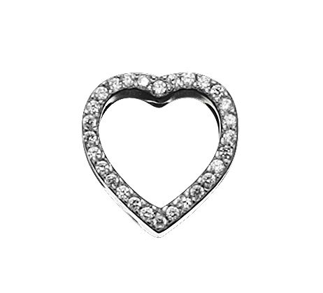 925 silver plated cut out heart charm