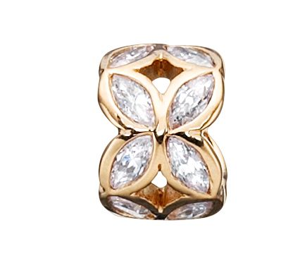 925 silver gold plated petal shaped charm