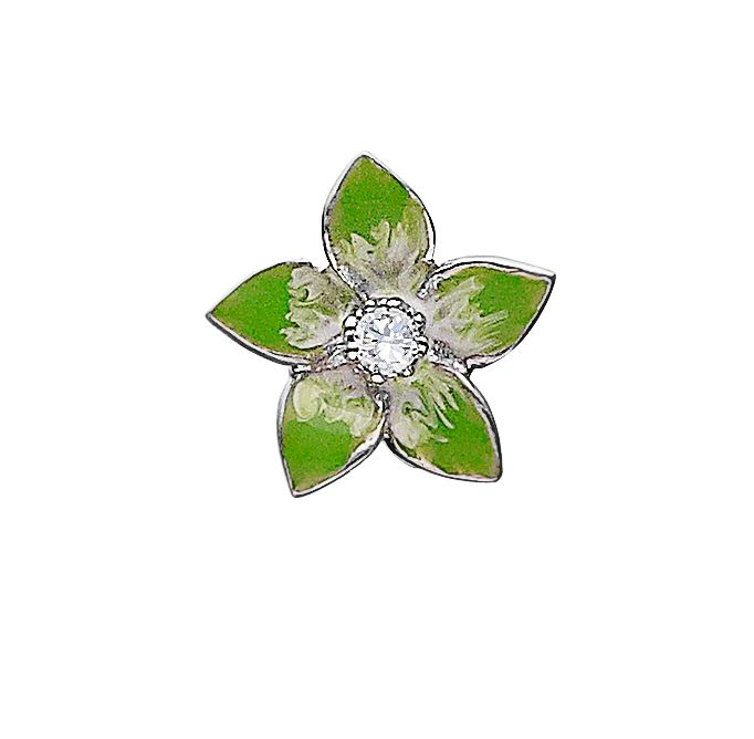925 silver  flower charm with pink  enamelling