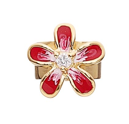 925 flower charm with red  enamelling