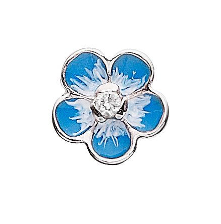 925 silver enameled flower button charm