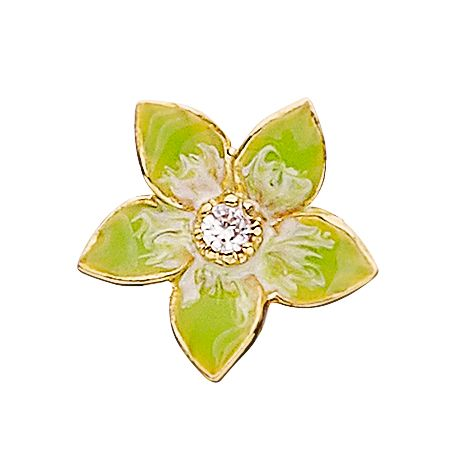 925 flower charm with lime enamelling
