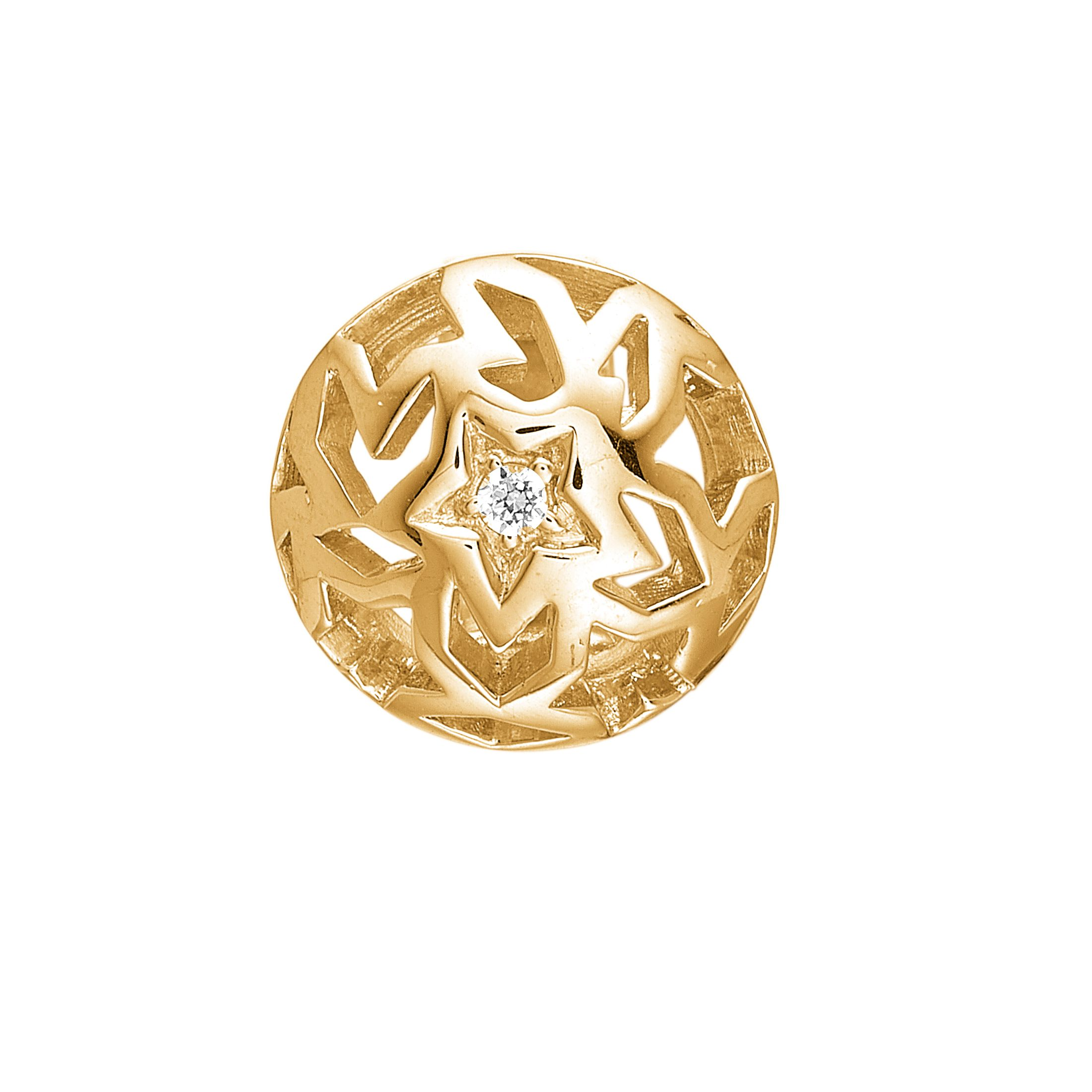 925 silver gold plated cicle button