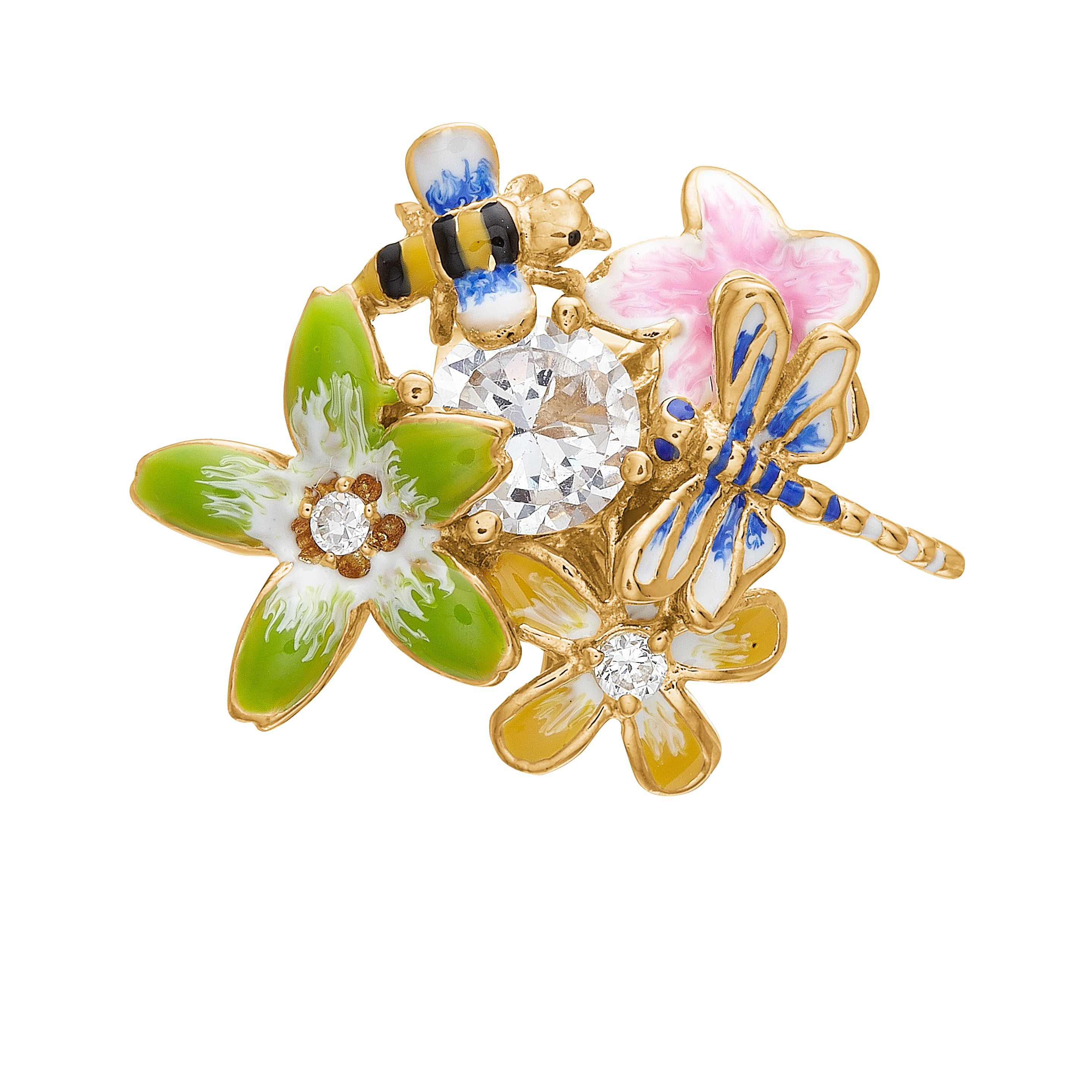 925 oversized enamelled flower and bee charm