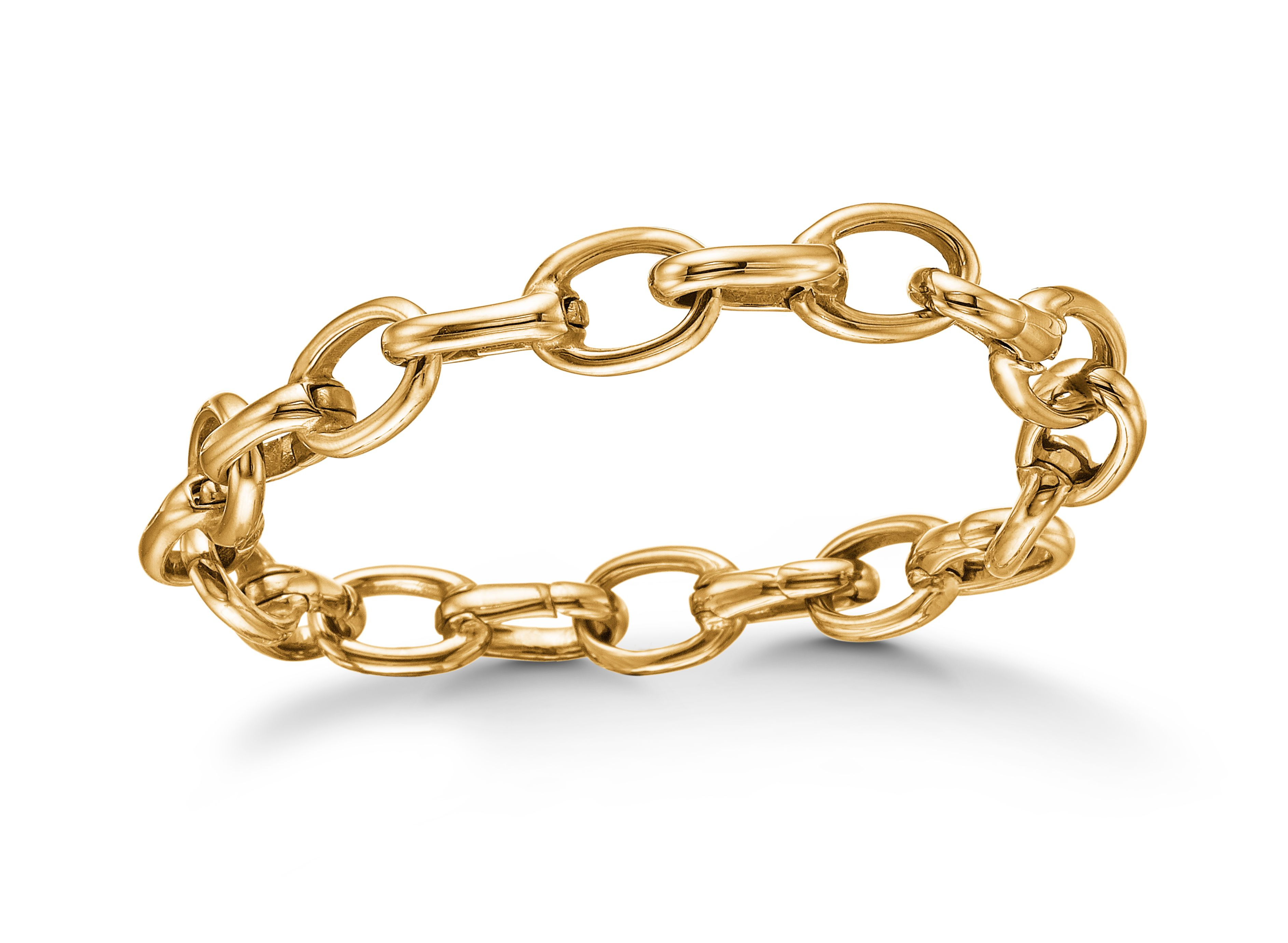Gold plated steel link bracelet