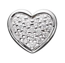 Silver Heart Button Charm