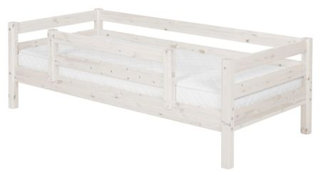 Flexa CLASSIC bed with double entry Safety Rail. Whitew