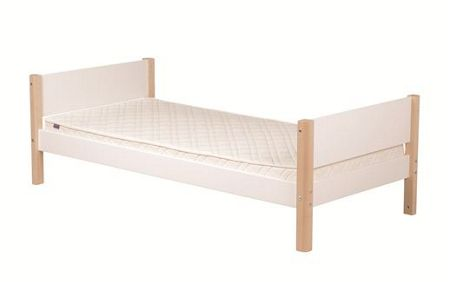 Flexa White Single Bed - Birch Legs