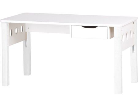 Flexa WHITE desk, adj birch legs and drawer