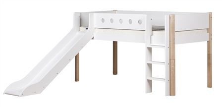 Flexa Mid-High Ladder & Slide White Bed