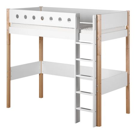 Flexa WHITE high bed, birch legs