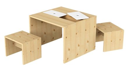 Flexa Classic Pine Table and Stool Play Set