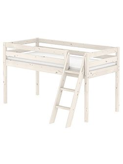 CLASSIC Single mid high bed with slanted ladder.