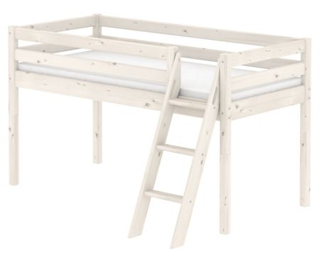 Flexa CLASSIC Single mid high bed with slanted ladder.