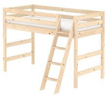 Flexa CLASSIC semi high bed with slanted ladder. Pine