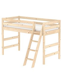 CLASSIC semi high bed with slanted ladder. Pine
