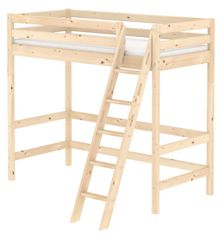 Flexa CLASSIC high bed with slanted ladder. Pine