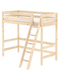 CLASSIC high bed with slanted ladder. Pine