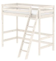 Flexa CLASSIC high bed with slanted ladder. Whitewash