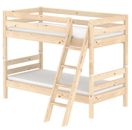Flexa CLASSIC bunk bed with slanted ladder. Pine
