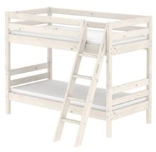 Flexa CLASSIC bunk bed with slanted ladder. Whitewash
