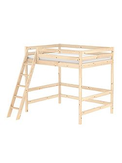 CLASSIC double high bed with slanted ladder. Pine