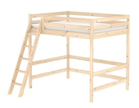 Flexa CLASSIC double high bed with slanted ladder. Pine
