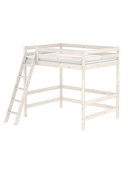 CLASSIC double high bed with slanted ladder. Whit