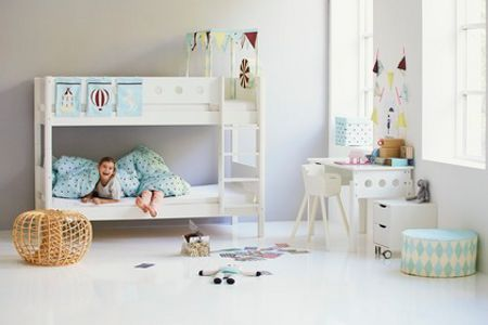 Flexa WHITE semi-high bed, slanting ladder