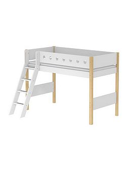 WHITE semi-high bed, slanting ladder