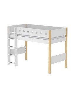 WHITE semi-high bed, birch legs