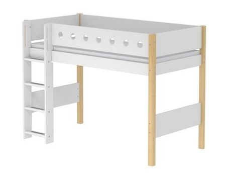 Flexa WHITE semi-high bed, birch legs