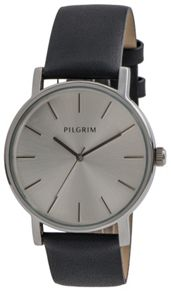Pilgrim Silver plated black leather strap watch