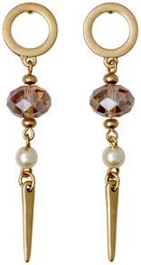 Earrings gold colour brown