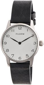 Pilgrim Silver plated with white and black watch