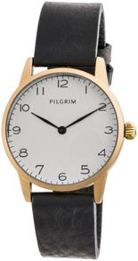 Pilgrim Gold plated black leather strap watch
