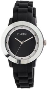 Pilgrim Silver Plated Black Rubber Watch