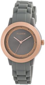 Pilgrim Rose Gold Plated Grey Rubber Diver Watch